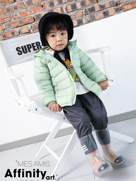 摩米 Mes ami童装品牌2021秋冬浅绿色羽绒服