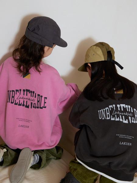 拉酷儿童装品牌2021秋冬粉色少女心卫衣