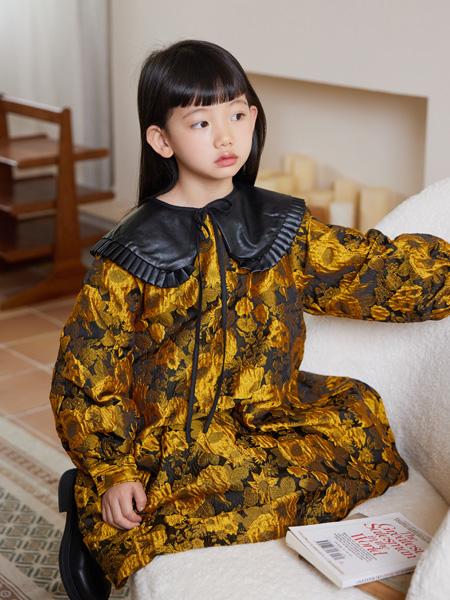 拉酷儿童装品牌2021秋冬复古长款连衣裙