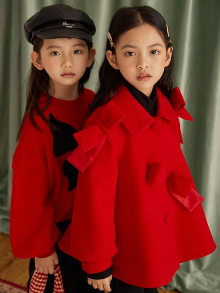M童装品牌2021秋冬红色衬衫领显白外套