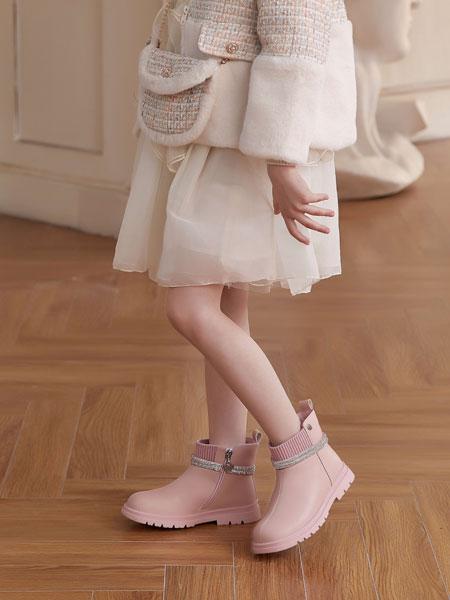 百丽国际TATA童鞋品牌2021秋冬粉色平底百搭公主靴