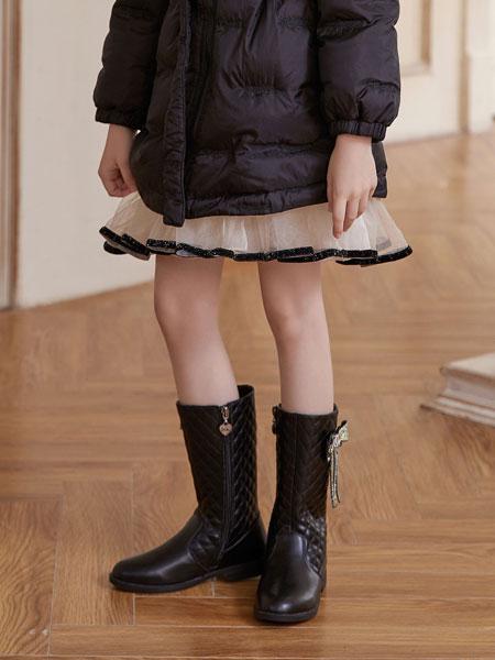 百丽国际TATA童鞋品牌2021秋冬黑色蝴蝶结优雅高筒靴